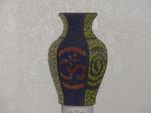 Vase 6 faces en �maux Motifs