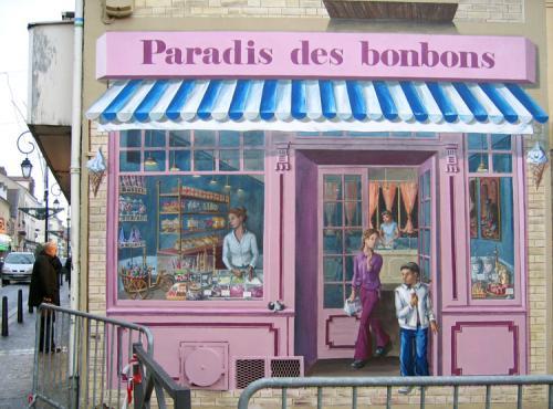Le Paradie des bonbons - fresque Le RDC - confiserie