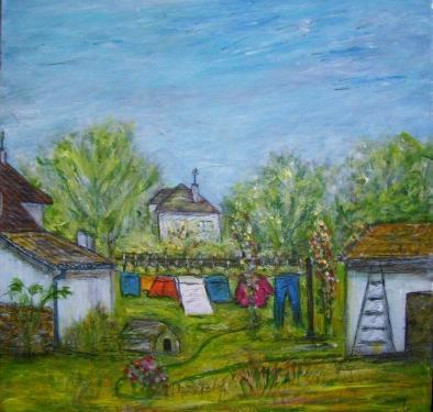 Dans la cour, acrylique sur toile