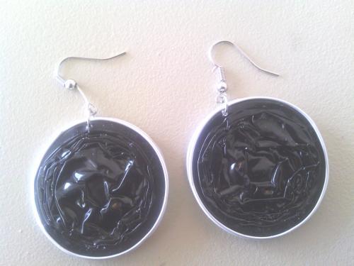 Boucles d'oreilles noires, capsules doubles r�sin�es