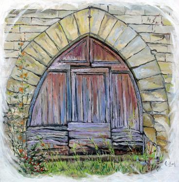 HUILE SUR TOILE 60X60 TITRE : LE PASSAGE DU TEMPS (Porte médiévale à Gourdon-Lot)