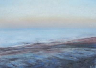 Le coucher de soleil, Normandie, pastels