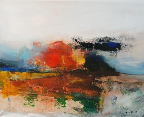 Paysage n°56-techniques mixtes sur toile- 92 x73