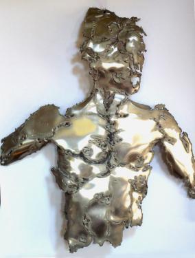 Masque buste,plaque d'aluminium