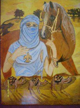 la princesse du desert plaque de porcelaine de 45X50 plusieurs cuissons à 800° et réalisé en peinture traditionnelle montée sur cadre