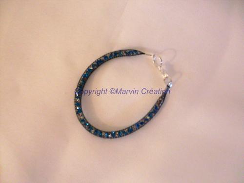 Bracelet (19 cm) résille tubulaire noire, cristal