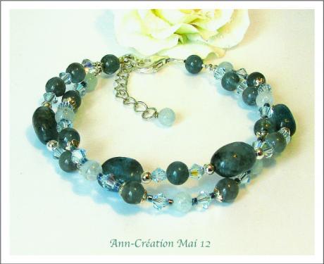 Bracelet Apatite, Aigue-Marine, Cristal de Swarovski, Argent 925 - 38 Euros  www.ann-cration.fr