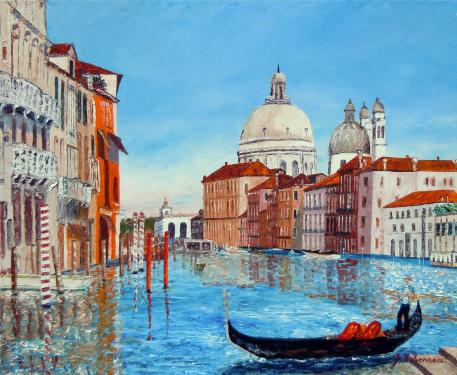 Gondole-Huile au couteau- format 61x50 cm Toile visible � Monts. Il s'agit d'une vue de Venise. Signature en bas � droite