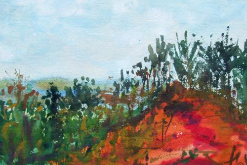 Les ocres de Roussillon, aquarelle