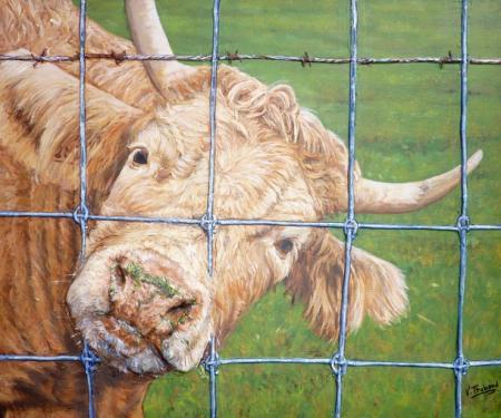 la vache  tableau de peinture sculpté au mortier en 3D sur toile Vendu  www.virginie-trabaud.com/tableau-peinture-vache-portrait-campagne-virginie-trabaud.html