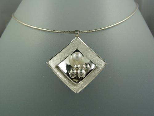 Collier mat brillant argent massif perle de culture