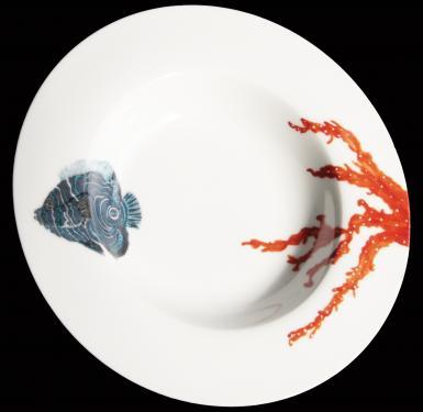 Assiette à soupe motifs de la mer. Référence: Diamètre: Sur commande délais nous consulter.