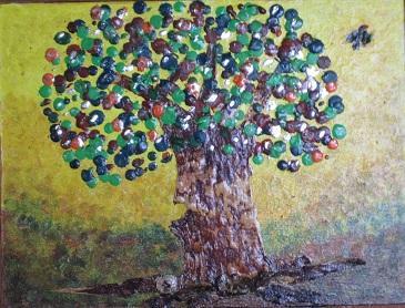 LE POMMIER D'AMOUR - Ecorce de bouleau - Mixte : acrylique et cire - 25 cm/ 35 cm  Les hommes sont comme les pommes,   quand on les entasse, ils pourrissent.  Montaigne