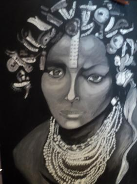 Noire et blanc:Portrait sur châssis toilé,peinture acrylique