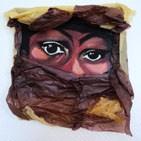 M�lancolie: tableau sur ch�ssis toil� peinture acrylique et papier de soie