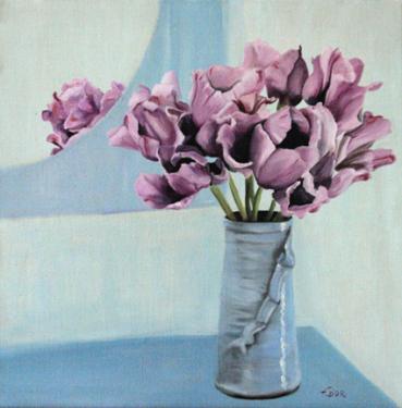 Huile sur toile 40x40 cm: Tulipes mauves