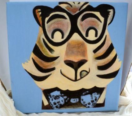 Tigre myope: tableau sur châssis toilé et peinture acrylique