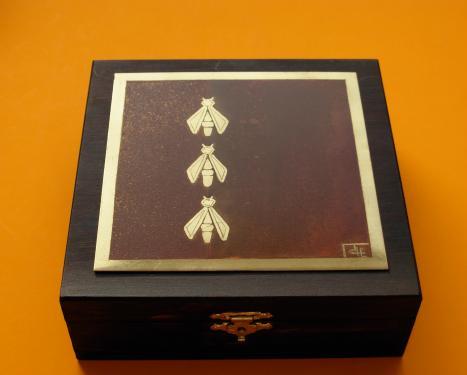 Boîte à bijoux Abeilles 14x14x4,5h
