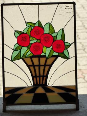 description fleurs Art déco, vitrail (20x30 cm) à poser ou suspendre