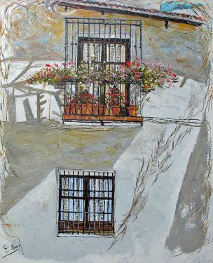 HUILE SUR TOILE DE LIN 73X60 TITRE : OMBRES ET LUMIERES ANDALOUSES (Seville)