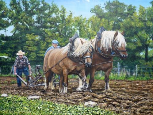les chevaux du moulin de vanneau  tableau de peinture sculpté au mortier en 3D sur toile en vente sur mon site