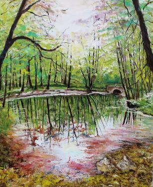 HUILE SUR TOILE 61X50 TITRE : MIROIR (Parc du chateau du Marais dans l'Essonne) Encadré
