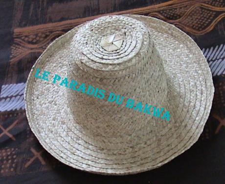 chapeau d'ouvrier bord 10cm en fibre de bakoua N°1