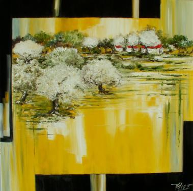 Le clos des amandiers  VENDU Huile sur toile 100x100 cm