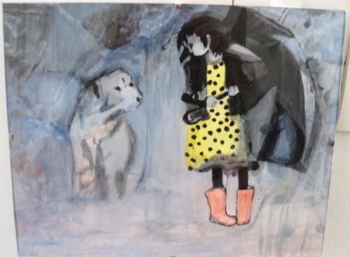Gouttes de pluie: tableau sur papier à dessin sous-verre;peinture mélange gouache et aquarelle
