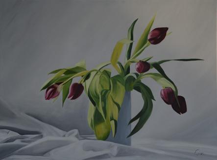Huile sur toile 50x70 cm: Tulipes.
