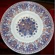 Grand plat (diam 48cm) d�cor rayonnant 17iem s- bleu et rouge - original mus�e Rouen