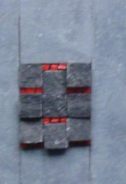 Gisement 3 Mosa�que de pierre bleue et p�te de verre dans cadre  alu de 18x13 cm