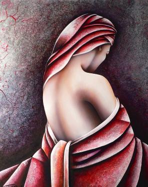 Femme de dos sur fond de feuilles d'argent 73 x 60