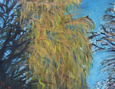 Le saule-pleureur, Honfleur, huile sur toile