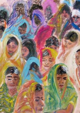 Les femmes, gouache, pastels
