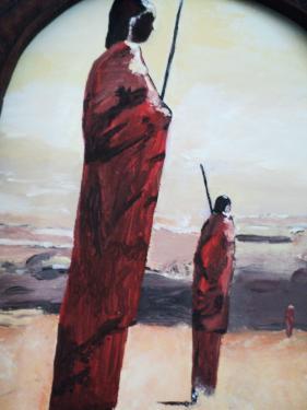 Massaï: tableau sur châssis toilé, peinture acrylique