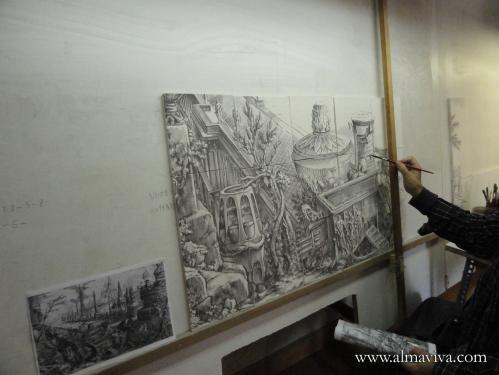 D�cor peint en mangan�se (brun) sur carreaux de fa�ence