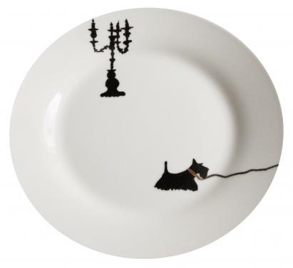 Assiette à dessert motif l'ombre. Référence: Diamètre: Sur commande délais nous consulter.