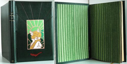 Le Roman de Renart (anonyme) Reliure chagrin vert Email champlevé : gravure du livre mosaïque de cuir en creux (rappelle la couverture brochée) papier de garde Brigitte Chardome titre : or 22 carats signet or