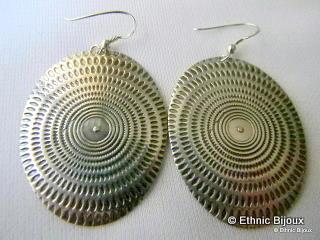 Boucles d'oreilles en argent en forme de coquillage, pièce unique