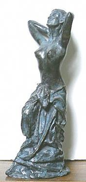 Femme sortant du bain Bronze patine bleue  40x12x15 cm
