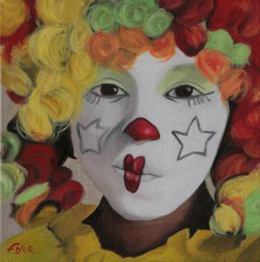 Huile sur toile 30x30 cm: Clownerie.