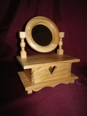 Bo�te � bijoux avec tiroir et miroir orientable