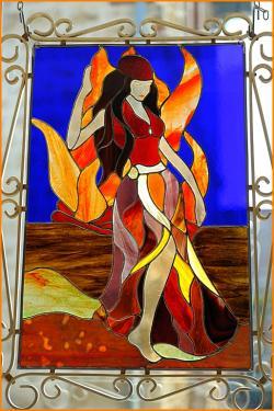 Esmeralda, création Tiffany (60 x 40 cm) PU signée Disponible