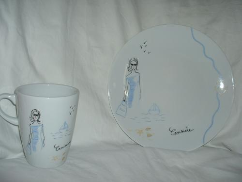 Mug et assiette en Limoges motif mode, décor croisière.