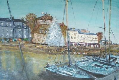 Le port de Honfleur à Noël, acrylique sur toile