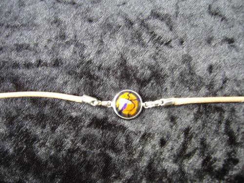 bracelet avec cabochon verre fusionné - cordon coton ciré