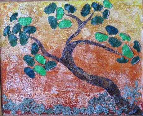 BONSAI  PARASOL.  - Ecorce de bouleau - Cônes de Cèdre - Lichen -              (35 cm/45 cm)  Le BONSAI est l'ART VERT par  excellence, qui met la nature à portée de main.