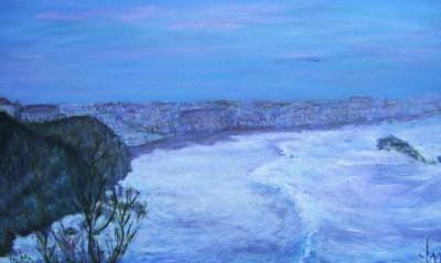 En soir�e, hiver � Biarritz, acrylique sur toile