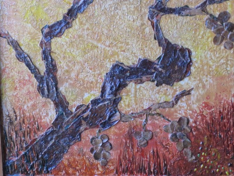 Actualité de NICOLE BOURGAIT THIERRY LE SET DES FLEURS 39. RAISINS OUBLIES.  Ecorce de bouleau - Cônes de cèdre du Liban -      (25 cm/32 cm)